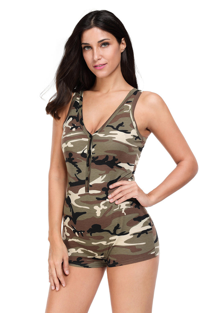 The Real Power Sporty Camouflage Print Romper