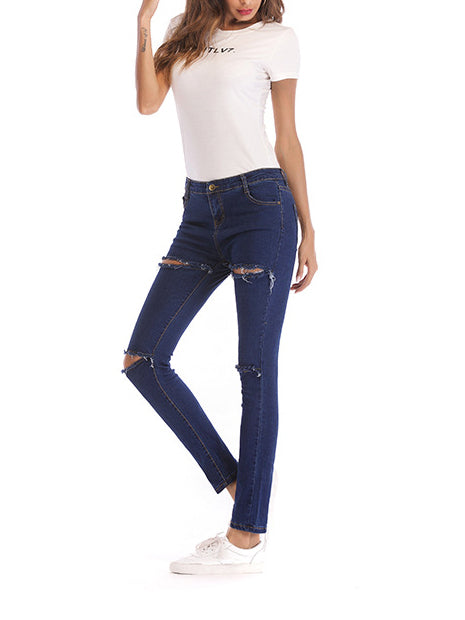 Shellie Split Knee High Rise Skinny Jeans