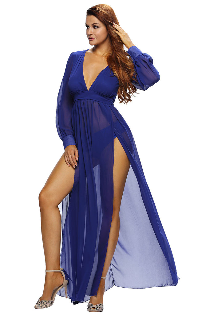 Blue Semi-Sheer High Slit Midi Dress