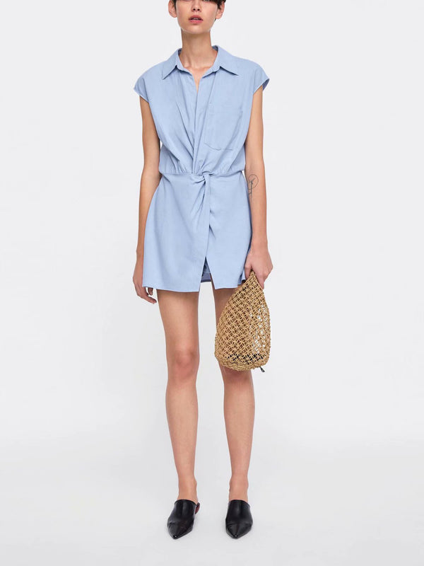 Simple Blue Cap Sleeve Romper