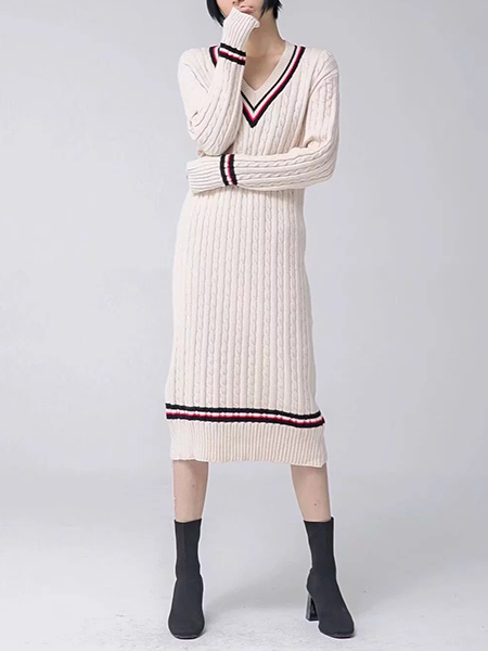Simply Stripe Cable Knit Sweater Dress
