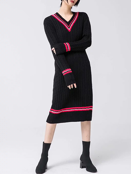 d0de679fd4b0 Simply Stripe Cable Knit Sweater Dress – INXCY