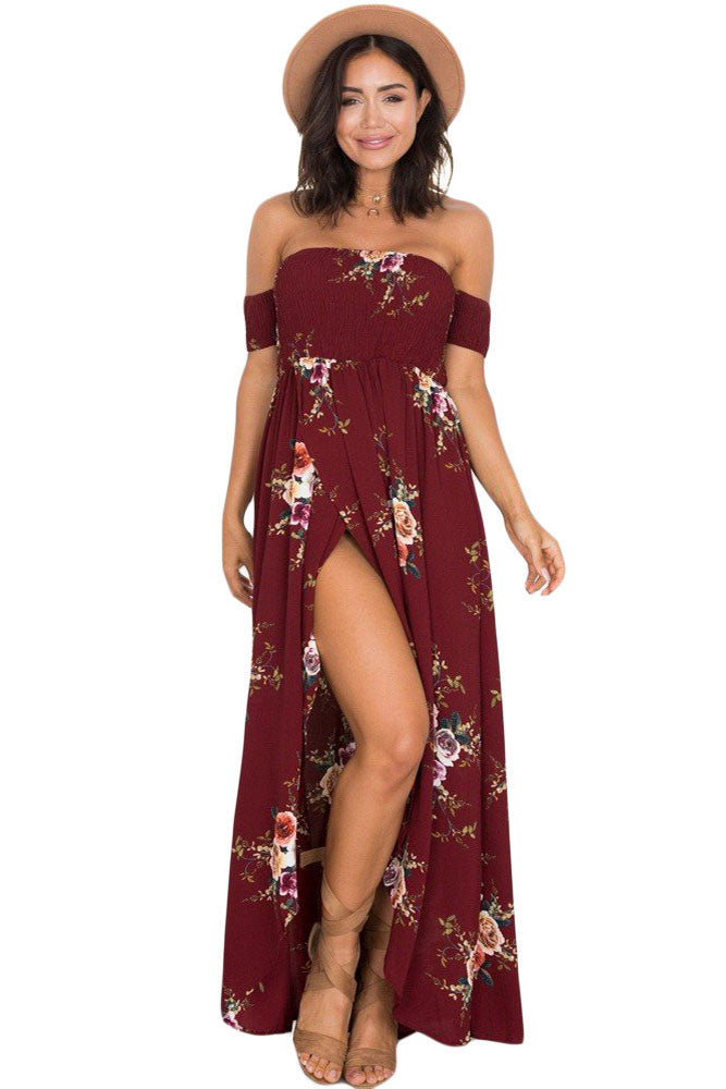 Smoked Off Shoulder Burgundy Floral Maxi Dress