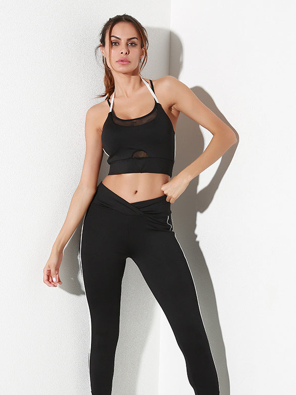 Soft, breathable and supportive crop with a halter neckline and cool mesh inserts