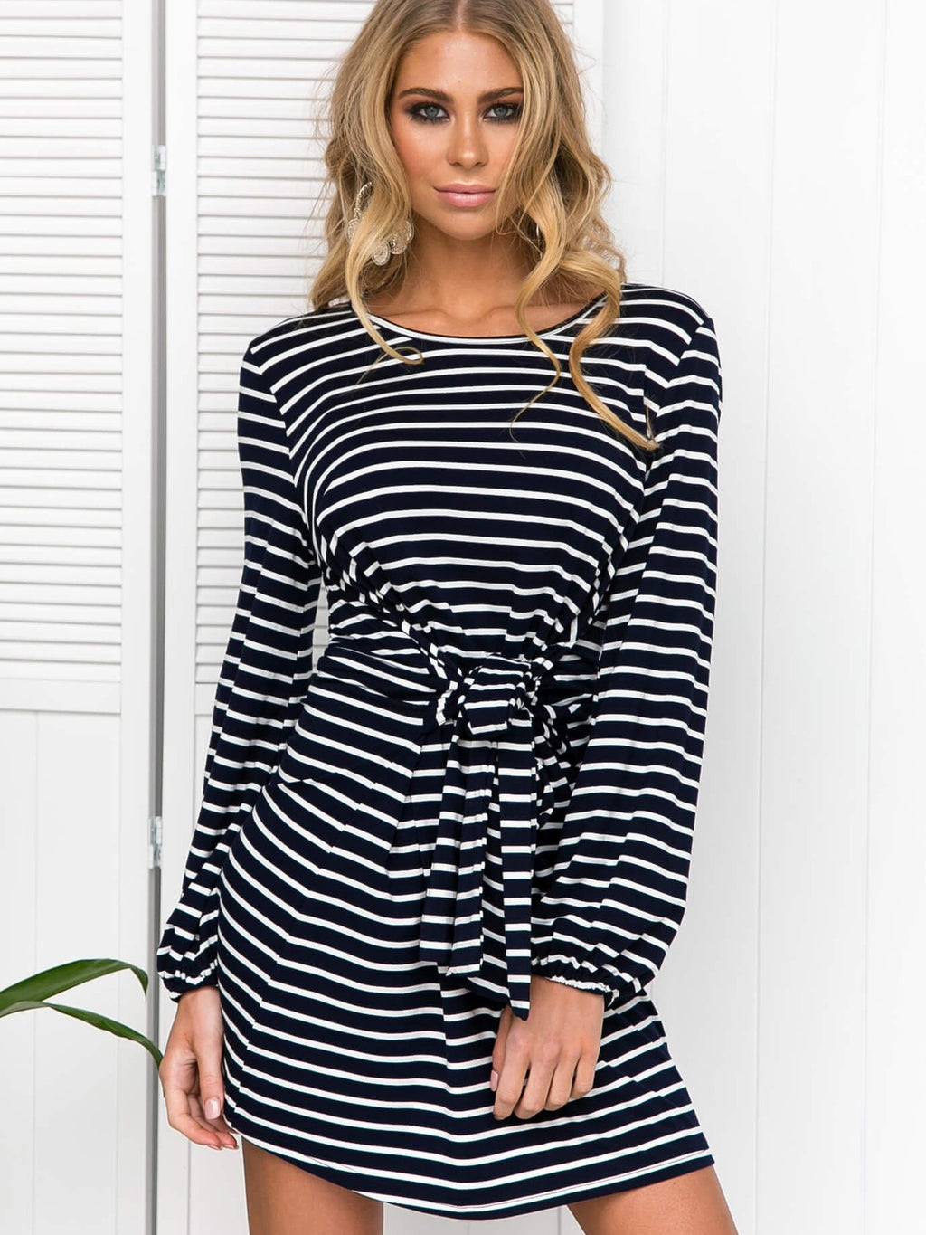 Stripe Boat Neck Slouchy Mini Dress