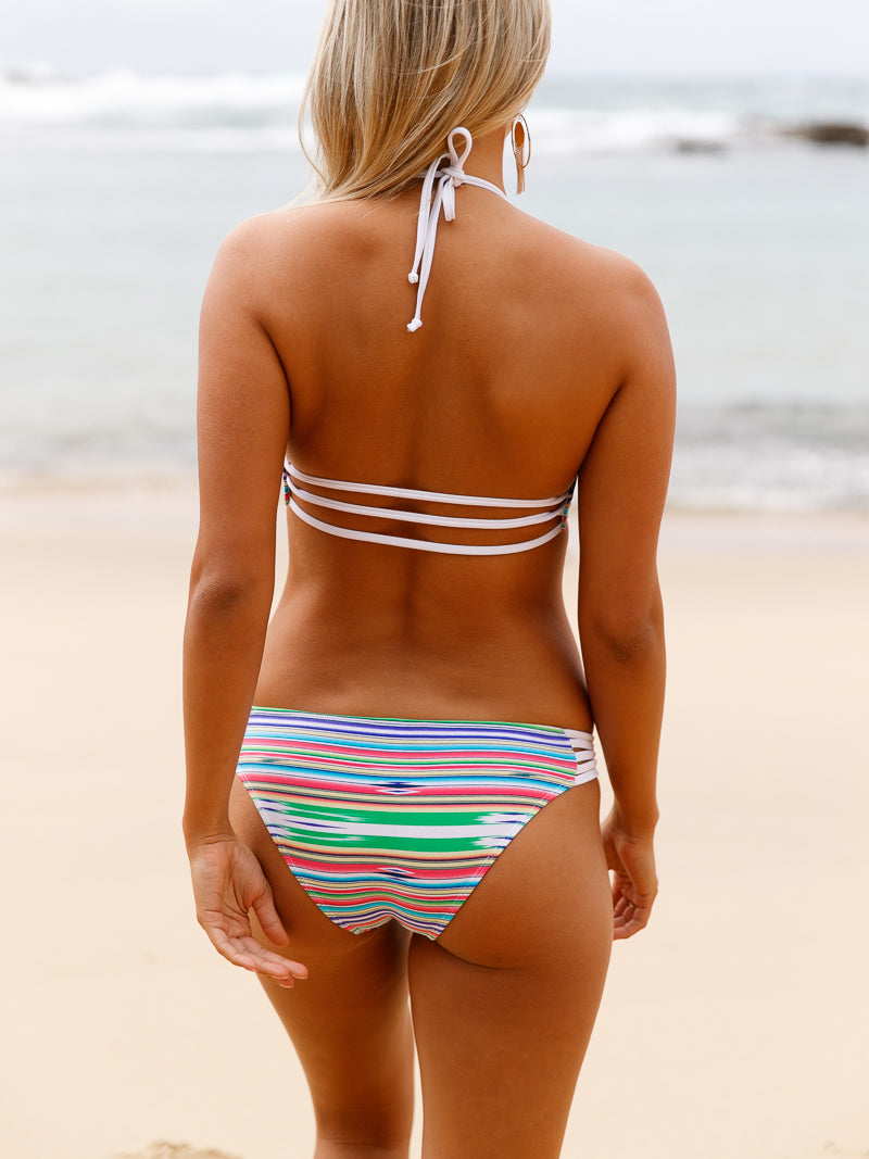 Striped Halter Neck Two-Piece Strappy Bikini