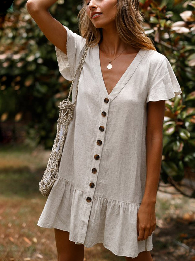 Summer Fever V-Neck Button-Down Mini Dress