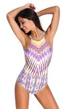 Tribal Print High Neck One-piece Swimsuit