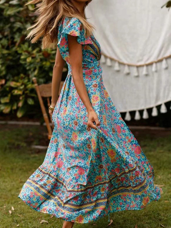 Sunny Days Bat Wing Sleeve Floral Maxi Dress