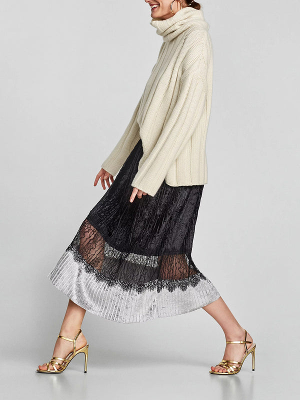 Super femme velvet midi skirt featured in pleat details and lace insert
