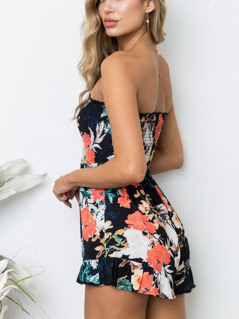 Supper femme floral printed romper featured in an off-the-shoulder neckline and a flared hem