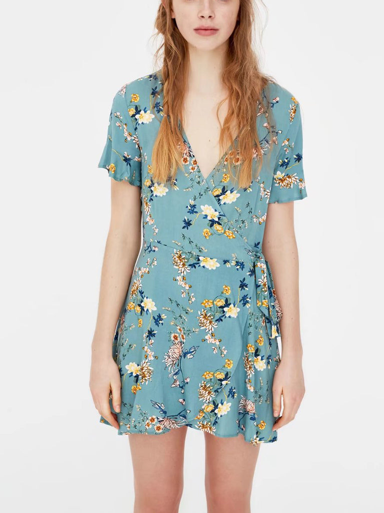 Sweet Lady Floral Print Surplice Mini Dress