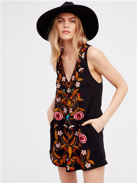 Lucky Enough Floral Embroidery Plunging Neck Mini Dress