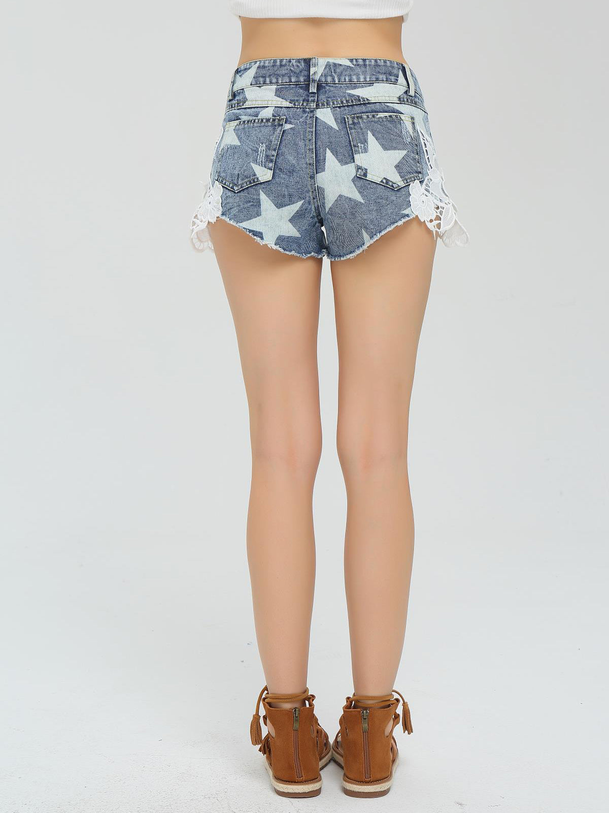 Take Me Somewhere Denim Lace Shorts