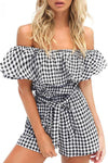 Take Me With You Off Shoulder Gingham Romper