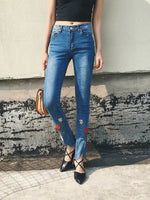 Tisa Floral Embroidered High Rise Skinny Jeans