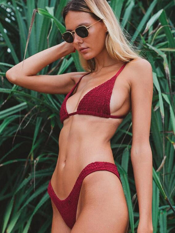 Triangle-shaped bikini top featured in textured details