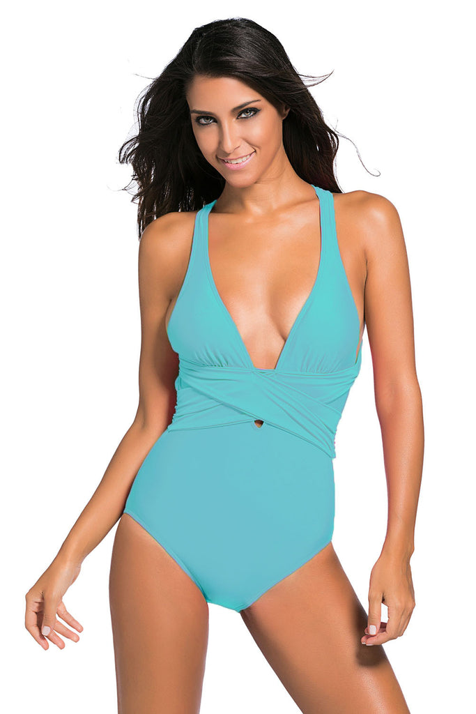 c45573fef3 Turquoise Self Tie One Piece Swimsuit – INXCY