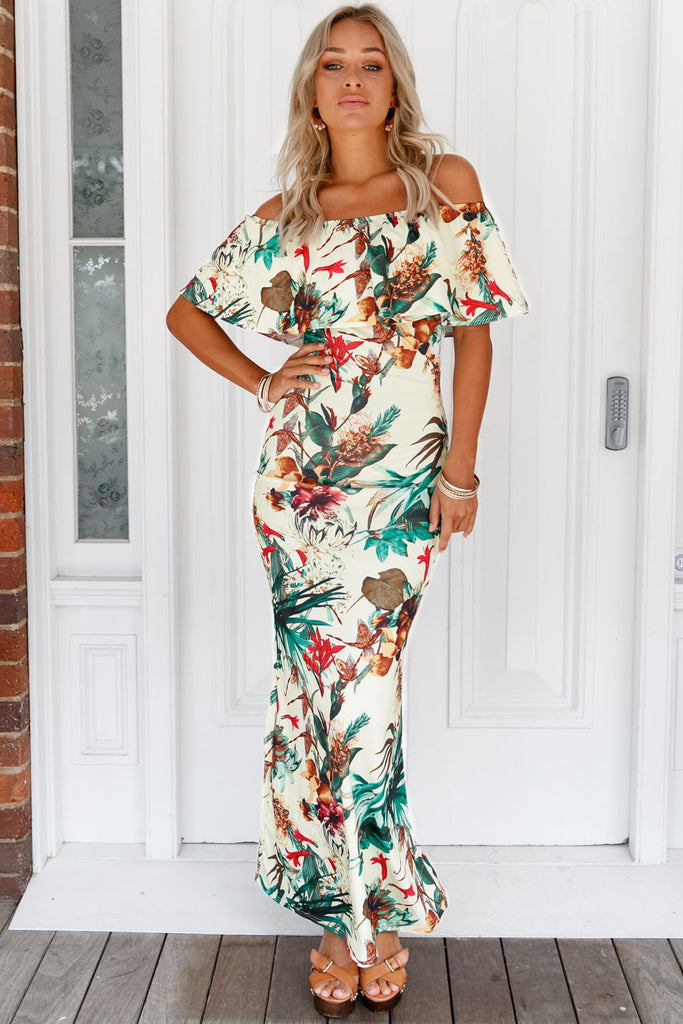 The Sunless Garden Printed Off-the-shoulder Maxi Dress