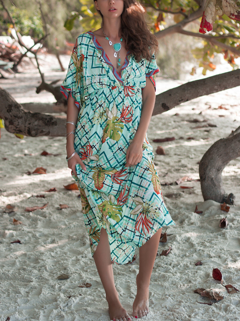 Wander Away Leafy Print V Neck Maxi Dress