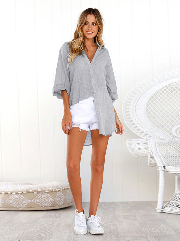 Wherever You Go Oversized Button Down High-Low Shirt