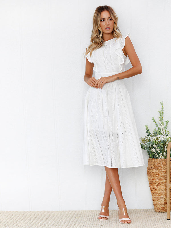 Wherever You Go Ruffled Midi Dress
