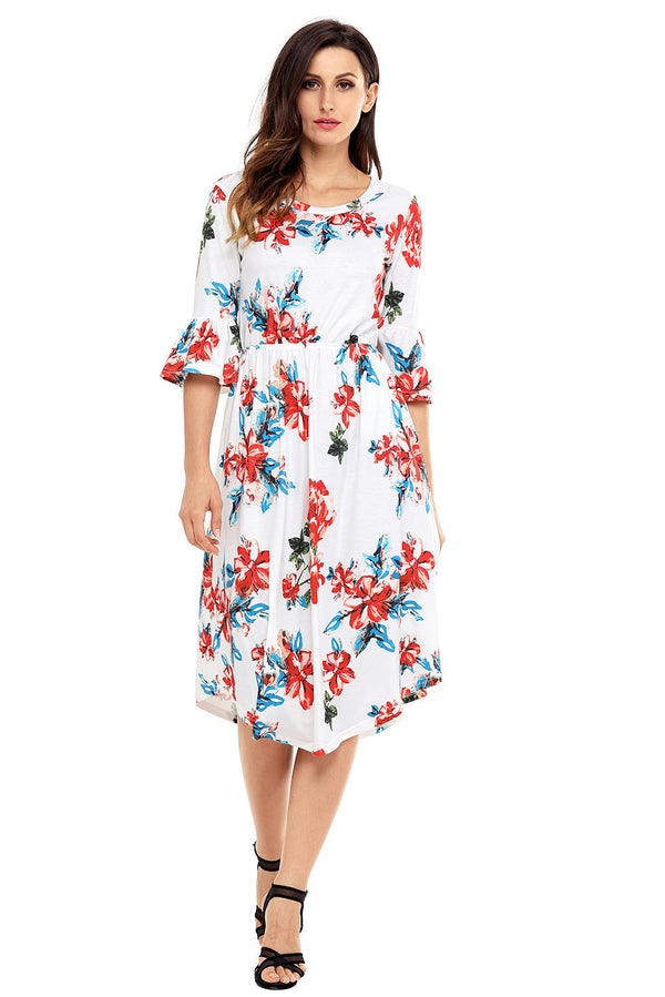 Find Me Floral Print Bell Sleeve Midi Dress