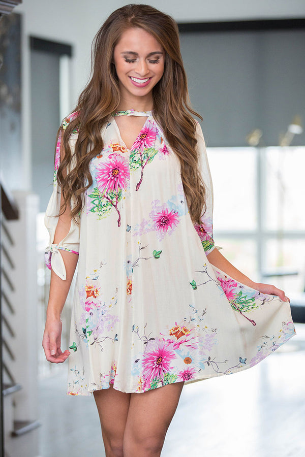 Floral Wishes Printed Split-Sleeve Pleated Mini Dress