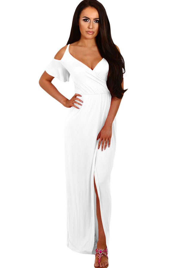 White Cold Shoulder Long Jersey Dress