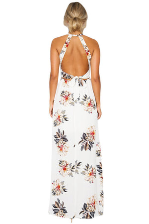 White Floral Cutout Back Halter Split Maxi Boho Dress