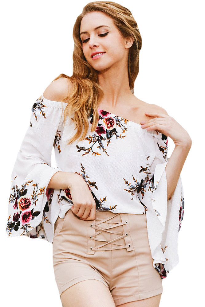 White Floral Elastic Off Shoulder Bell Sleeve Top