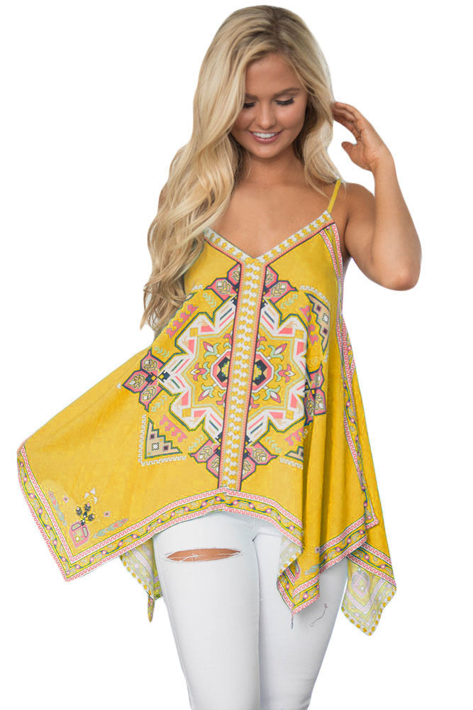 Yellow Tribal Print Summer Holiday Tank Top