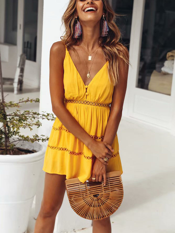 Yellow V Neck Spaghetti Strap Hollow-Out Romper Dress