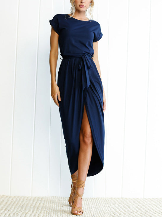 black batwing sleeve surplice dress boat neck midi dress high slit pleated dress with a mathing waistband
