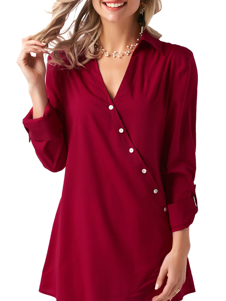 black roll tab sleeve top white plunging neck blouse red button down shirt long sleeve blouse