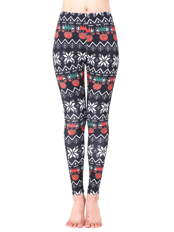 Cute Reindeer Printed Holiday Leggings