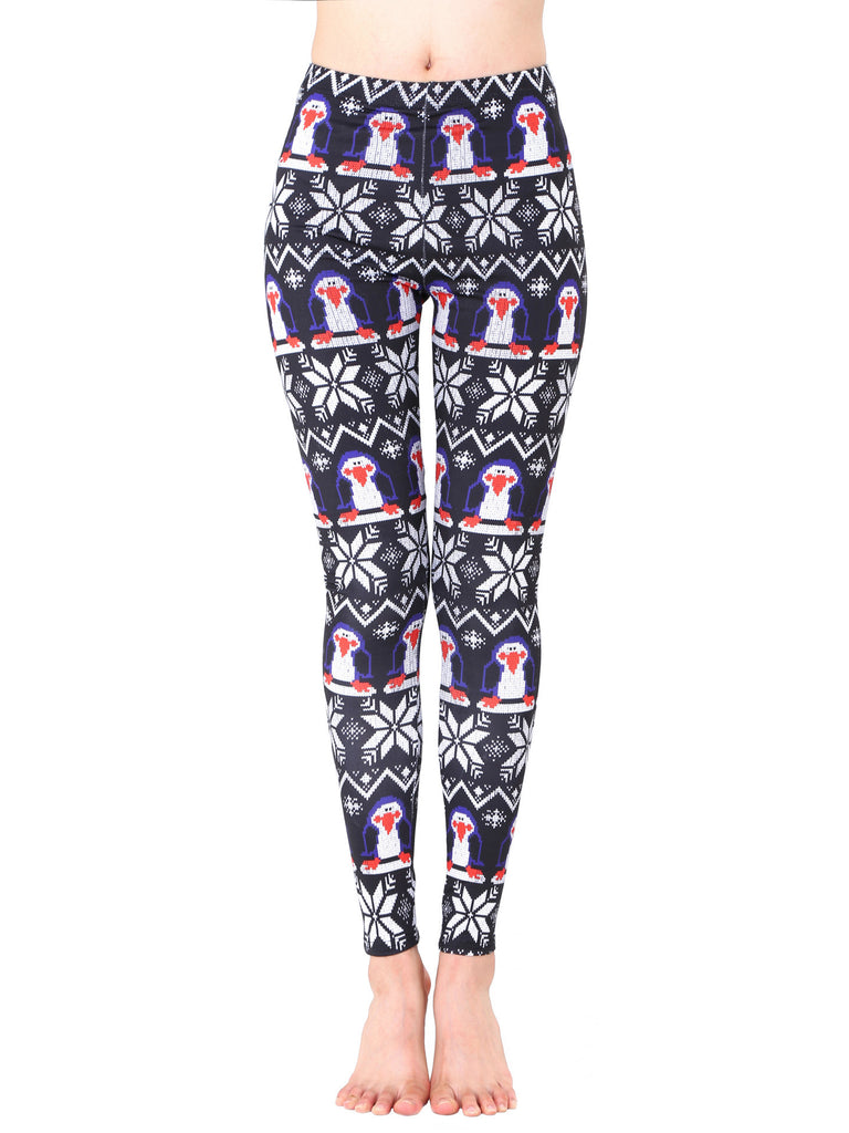 Penguin Printed Holiday Christmas Leggings