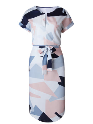color block slash neck short sleeve knee-length dress with a matching waistband and side slits