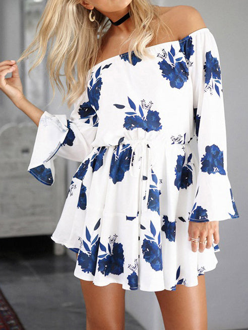 Floral Print Off The Shoulder Mini Dress