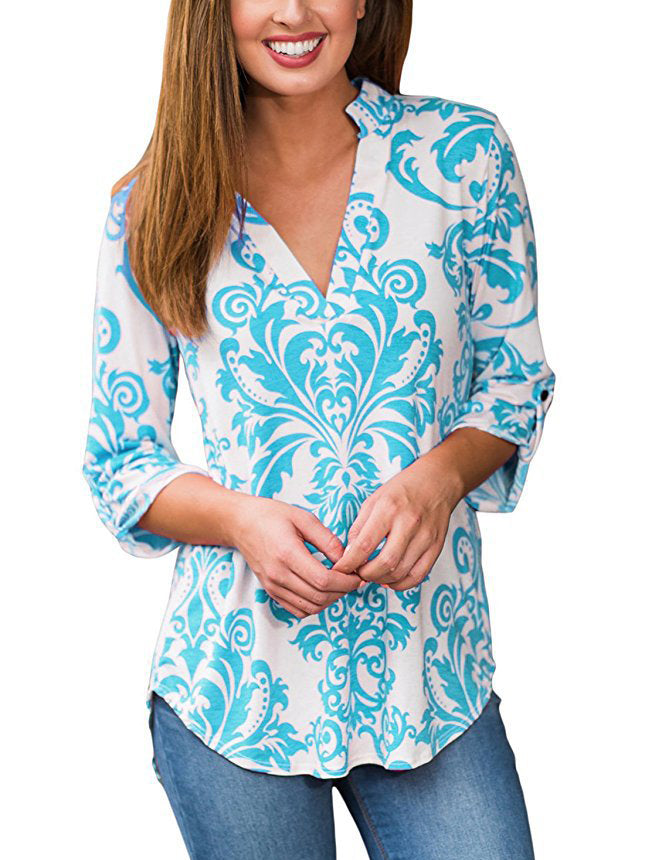 floral print plunging neck top roll-tab sleeve blouse with an asymmetrical hemline