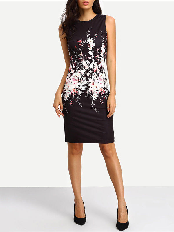 floral print sleeveless bodycon dress boat neck curvy short dress knee-length dress little black dress