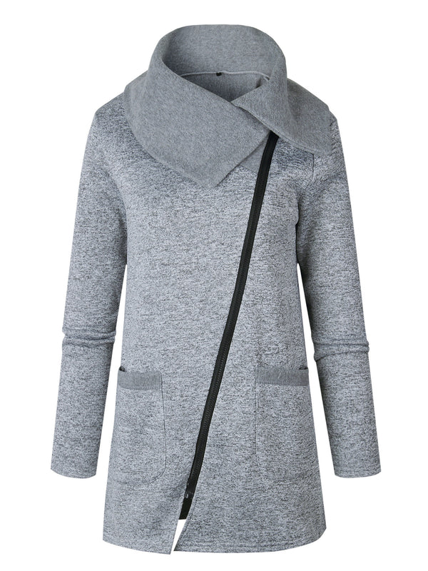 grey long sleeve cowl neck oversized jacket with front zipper closure and slip pockets dark grey overcoat