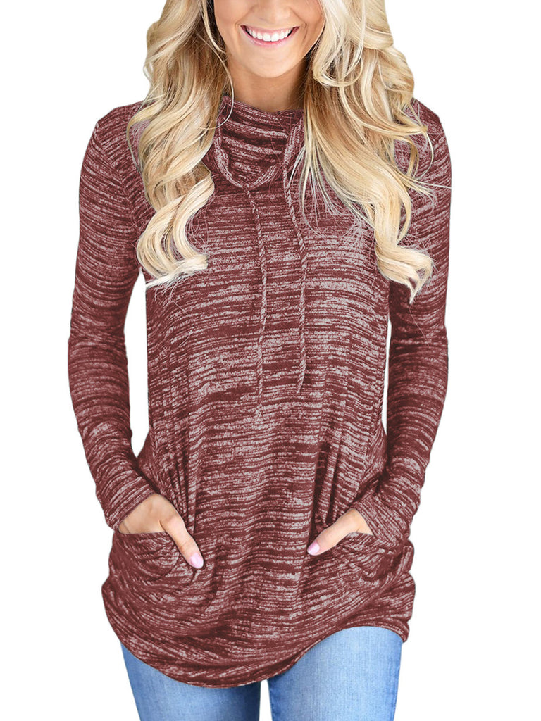heather red cowl neck drawstring long sleeve sweatshirt with slip pockets (1)
