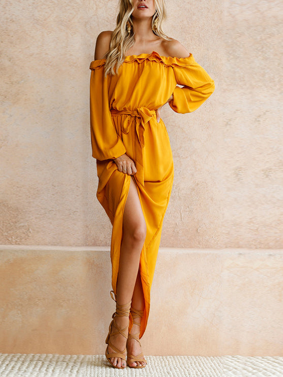 off the shoulder midi dress with long sleeves and high slit at back and mathing waistband ruffled dress