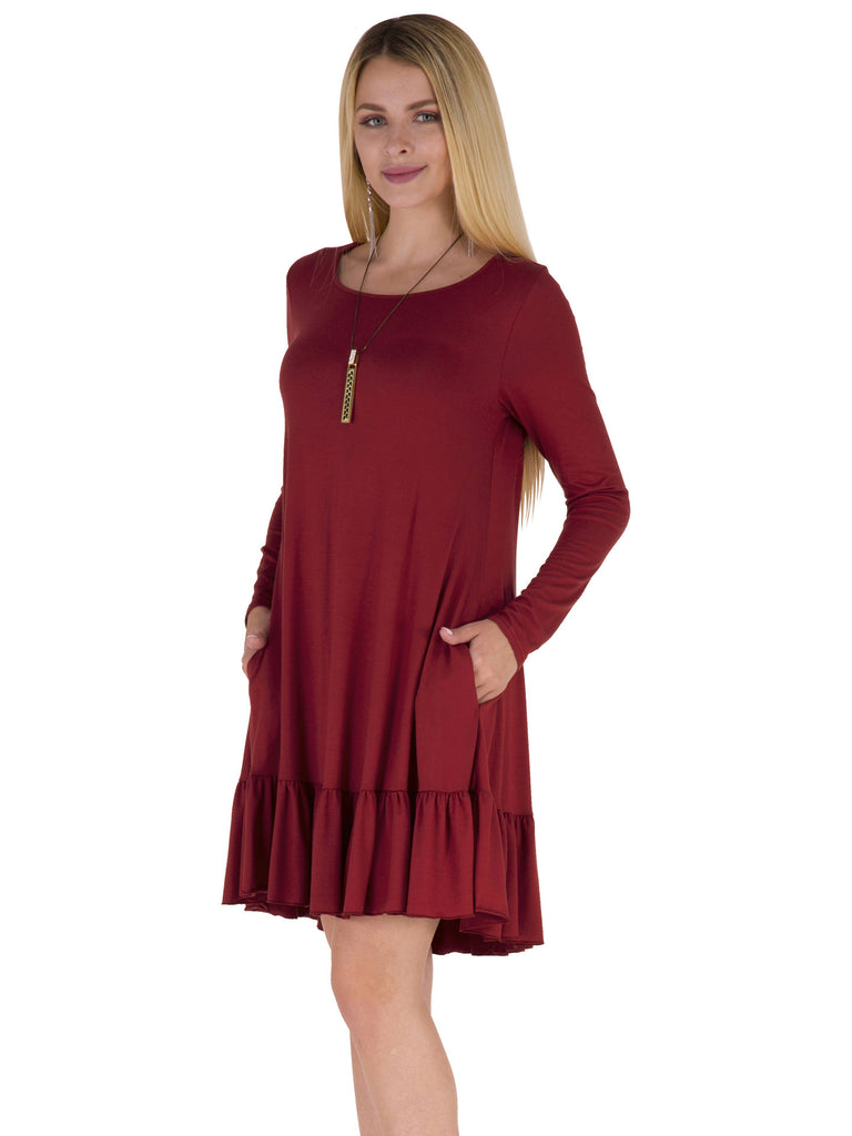 solid color boat neck round neckline long sleeve knee-length dress within pleated hemline and side pockets