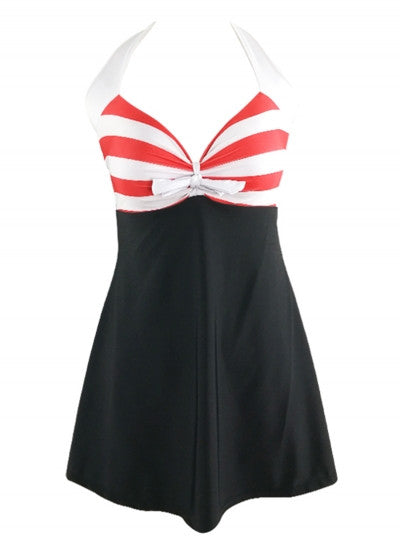 Pink Striped Halter Neck Swim Dress