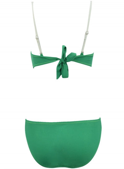 Green Contrast Striped One Piece Swimsuit