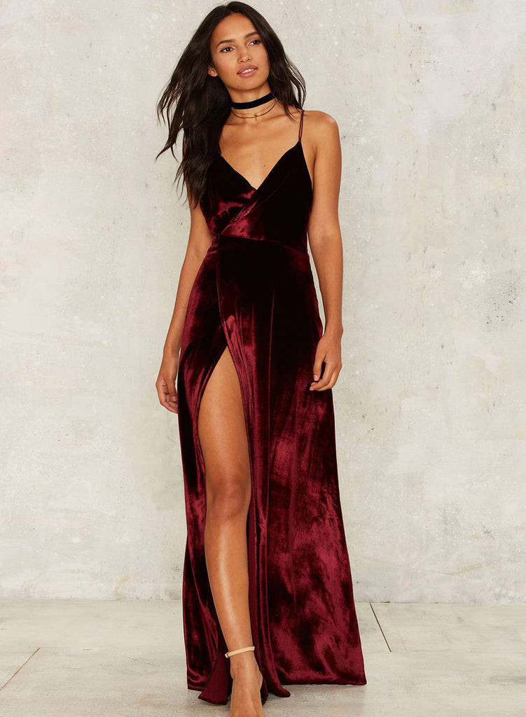 Velvet Plunging Neck Open Back Maxi Dress