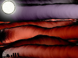 3 Moons and Red Waves - Greeting Card - GallaherGallery.com