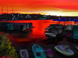 Lake Union Red Sky - Greeting Card - GallaherGallery.com